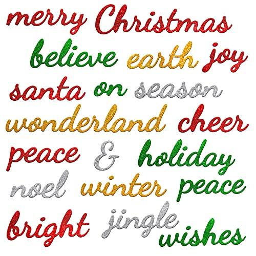 19 Pieces Christmas Thanksgiving Metal Die Cuts Holiday Embossing Word Cutting Dies Celebration Carbon Steel Script Die Stencils Word Cut Die Stencil (Classic Style)