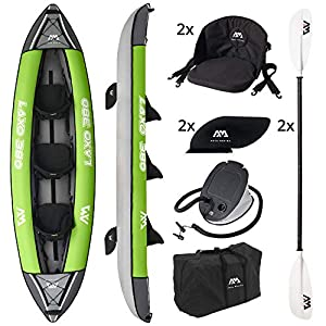 AM AQUA MARINA Set de Kayac Inflable para 2 – 3 Personas LAXO-380 2020 12'6''Canoa Piragua, Bomba, Bolsa 380 x 95 cm… 4