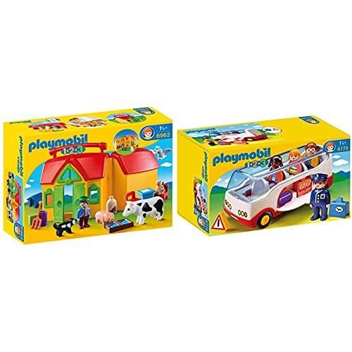 Playmobil 1.2.3 Granja Maletín, A Partir De 1.5 Años (6962) , Color, Modelo Surtido + 1.2.3 Autobús, A Partir De 1.5 Años (6773)