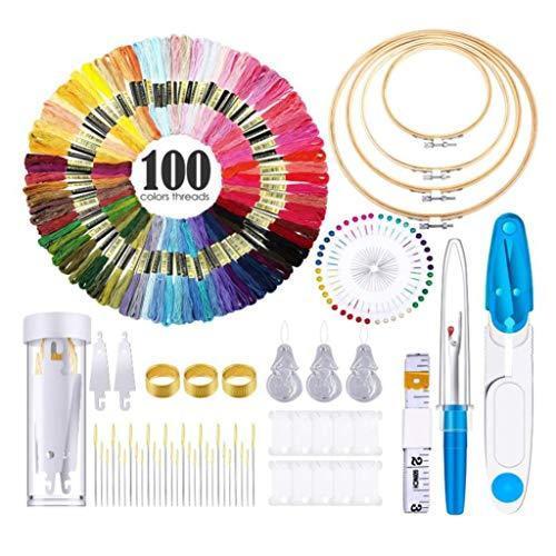 Ctzrzyt Kits de Inicio de Bordado, con Hilos,Lazos de Bordado,Agujas, Herramientas de Costura, Bobinadoras de Hilo para Coser Kits de Bordado