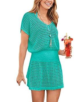 Eddoyee Crochet Fishnet Bathing Suit Coverups for Women V Neck Mesh Beach Tunic Dress Light Green