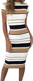 BODOAO Women's Dress Working Dresses Pencil Stripe Party Dress Casual Mini Dresses