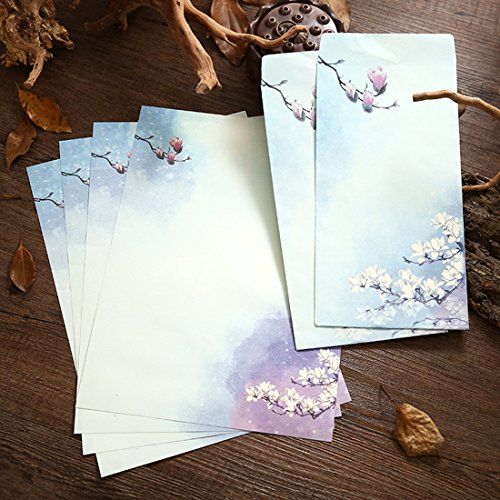 SCStyle 16 Cute Retro Envelopes 8.46 x 4.33 Inches 32 Lovely Kawaii Special Design Chinese Style Stationery Writing Letter Paper 10.2 x 7.3 Inches,Stationary Paper and Envelopes Set