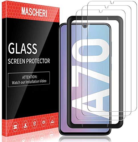 MASCHERI 3 Stück Panzerglas für Samsung Galaxy A70 Schutzfolie Ausgestattet mit einem Einbaurahmen 9H Festigkeit Panzerglasfolie Blasenfrei Bildschirmschutzfolie