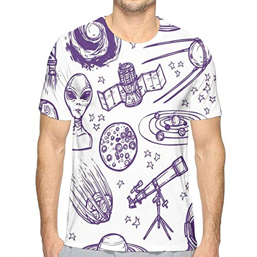 Mens 3D Printed T Shirts,Minimalist Space Graphic Satellite Orbit Radar Saturn Telescope Space Theme S