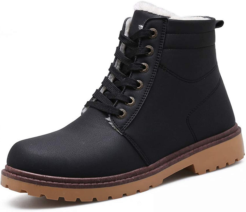 FHCGMX Men Boots Warm Men shoes Winter Pu Leather Winter Boots Men Winter shoes
