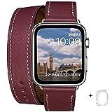WFEAGL コンパチブル Apple Watch バンド,は本革レザーを使い、iWatch Series 4/3/2/1、Sport、Edition向けのバンド交換ストラップです コンパチブル アップルウォッチ バンド (38mm 40mm, 二重巻き型 ワインレッド バンド+シルバー バックル)