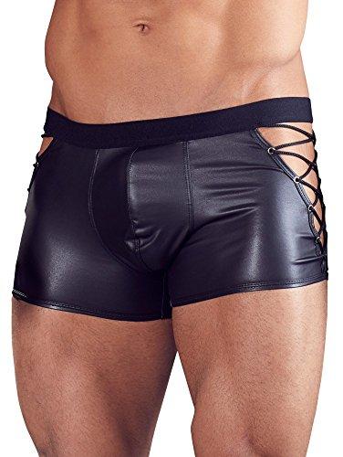 Orion Herren Pants - Boxershorts mit seitlicher V-Schnürung, elastisch anschmiegsame Unterwäsche für Männer in schwarzem Matt-Look (L)