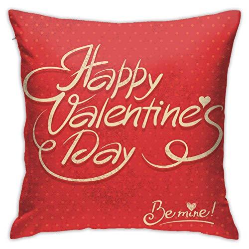 Funda de almohada cuadrada de poliéster suave para el día de San Valentín con texto en inglés 'Happy Valentines Day', para sofá, cama, decoración de habitación de juguetes o coche, 45,72 x 94 cm