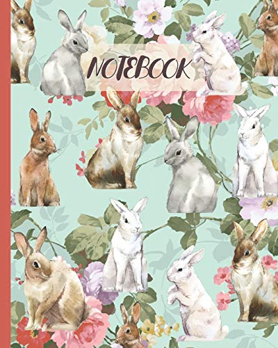 Notebook: Rabbits Drawing & Vintage Pink Rose - Lined Notebook, Diary, Track, Log & Journal - Cute Gift Idea for Girls, Teens, Women (8