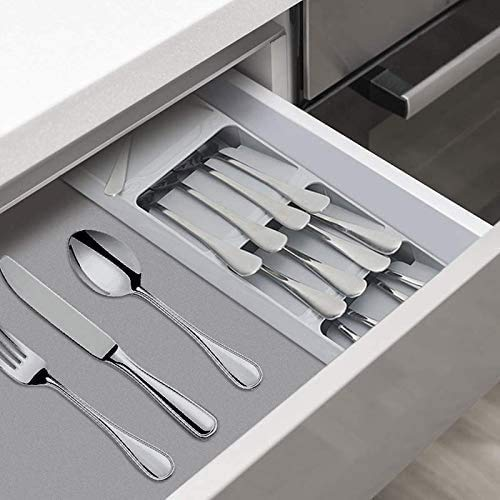 Kitchen Drawer Organizer Tray Box for Cutlery Spoon Knife and Fork Partition Storage, 1-PACK (Gary 2PCS)