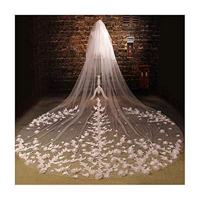 Fenghuavip 2T Cathedral Wedding Veils for Brides 5M Length 3D Flowers Blusher Wedding Veils