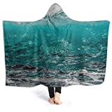 Kids Youth Wearable Blanket, Nature Water Sea Ocean Wave Nature Foam Turquoise Spray Hooded Blanket, Washable Autumn Moving Throw Blanket for New Year Gift, Airplane, 80 x 60 inch