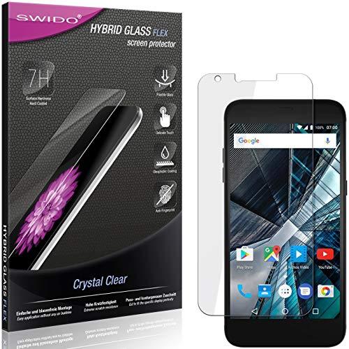 SWIDO Panzerglas Schutzfolie kompatibel mit Archos 55 Graphite Bildschirmschutz-Folie & Glas = biegsames HYBRIDGLAS, splitterfrei, Anti-Fingerprint KLAR - HD-Clear