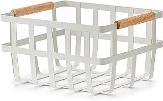 Zeller Panier de Rangement en métal et Bambou Blanc