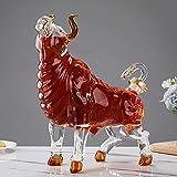 WLCO Creativo Toro artesanía Forma Botella de Vino decantador Regalo Adornos Cabeza Arriba Vaca Animal en Forma de Animal múltiple de múltiples usos Altamente Vidrio de borosilicato 710