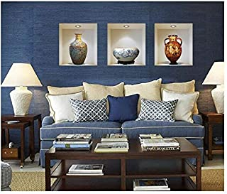 3D Simulation flower ceramic vase Poster & Removable Decorative Poster for Living Room Wall Stickers