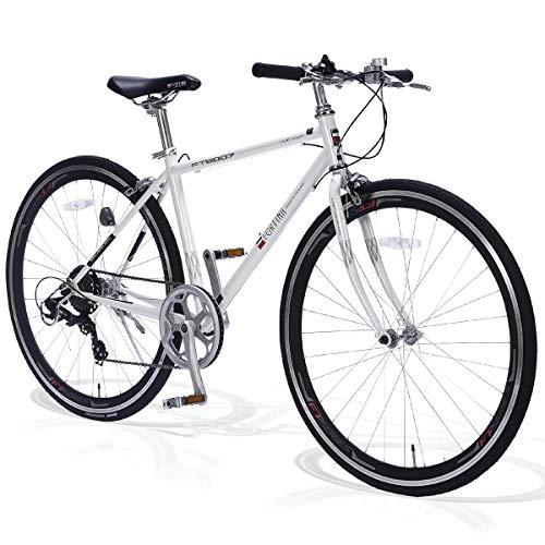 FORTINA(フォルティナ) FT5007 クロスバイク 700C シマノ 7段変速付 軽量設計 自転車 フレームサイズ430 エアロリム クイックレリーズ 高さ調整ハンドル 男女兼用(スノーパール)