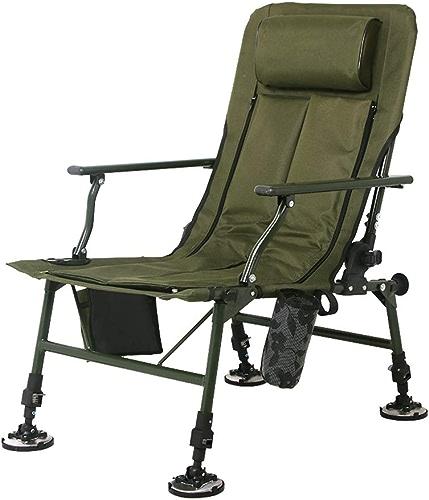 WEQ Chaise de pêche Pliante Multi-Fonction Chaise extérieure Portable Chaise de Camping Dossier réglable Chaud en Hiver et Frais en été 150kg (Couleur   vert, Taille   B)