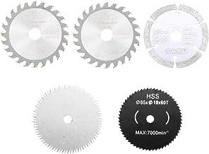 HELEISH Juego de 5 cuchillas de sierra de diámetro de 85 mm Conjunto de discos de corte circular Juego de carpintería Herramienta accesoria