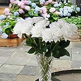 Awtlife Lot de 20 roses artificielles en soie pour décoration de mariage, mariage, fête prénatale, décoration de la maison Blanc