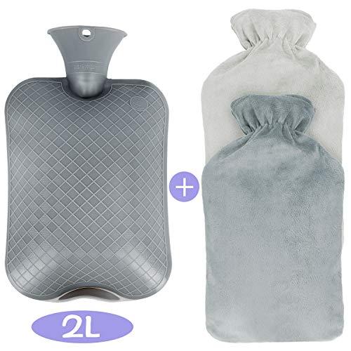 Bolsa de Agua Caliente, Funda de Suave Felpa Tejido extraíble y lavable,No Hay Fugas Alivio rápido del dolor y comodidad 2L
