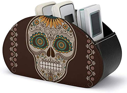 Remote Control Holder,PU Leather Colorful Starry Sky Galaxy Media Accessory Storage & Organizer for Easy Store and Take Remote Controllers/Office Supplies/Media Accessories-Day of the Dead Skull