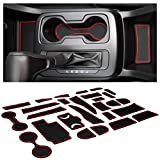 CupHolderHero fits Chevy Colorado and GMC Canyon Accessories 2015-2021 Interior Non-Slip Anti Dust Cup Holder Inserts, Center Console Liner Mats, Door Pocket 26-pc Set (Crew Cab) (Red Trim)