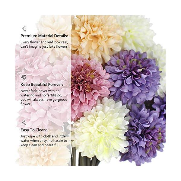 SNAILGARDEN Snail Garden 12 Flores Artificiales,Crisantemo Artificial con Cuerda de Hilo + Tarjeta de Felicitación