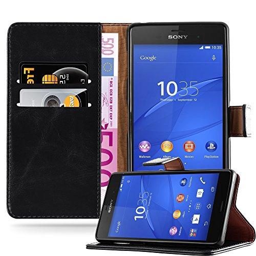 Cadorabo Hülle für Sony Xperia Z3 in Graphit SCHWARZ – Handyhülle mit Magnetverschluss, Standfunktion & Kartenfach – Hülle Cover Schutzhülle Etui Tasche Book Klapp Style