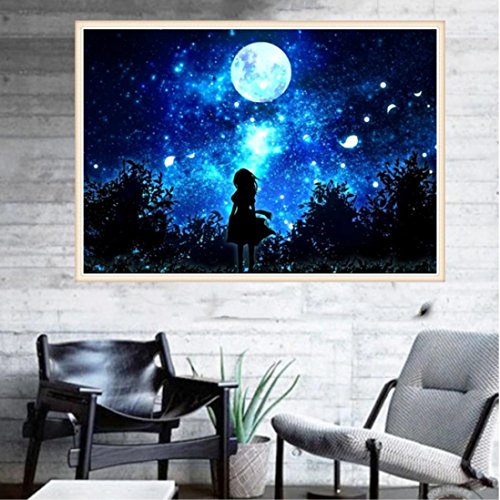 Pandaie To America!!! Dream Sky Girl 5D Diamond Painting Full Drill Kits for Adults Embroidery Cross Stitch(all 5% off, three 10% off)