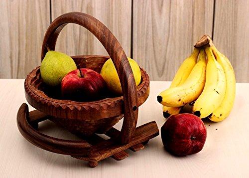 storeindya Frutero de madera - Hecho a mano, plegable - Almacenamiento de frutas y como canasta de pan - Accesorios de cocina y comedor, Encimera decorativa - Acción de gracias Navidad Regalo de acción de gracias