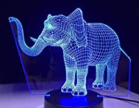 3Dイリュージョンナイトライト 象 3Dランプオプティカル7色段階的に変化する子供用LEDライトスマートタッチベッドサイドランプベッドルーム男の子用ホームデコレーションクリスマスギフト