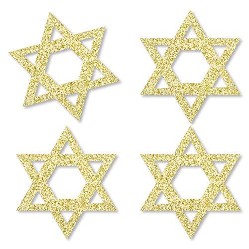 Gold Glitter Star of David - No-Mess Real Gold Glitter Cut-Outs - Hanukkah Confetti - Set of 24