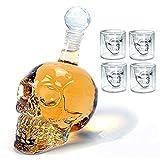 Chanhan Juego de decantador de vino y copas de cristal con diseño, botella de cristal única, vasos de whisky, suministros de barra de 1 decantador de vino de 1000 ml y 4 vasos de 250 ml
