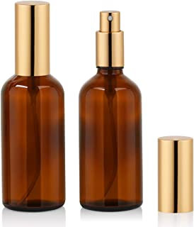 Amber Glass Spray Bottle 4oz for Cologne,Perfume,Essential Oils,Refillable Golden Fine Mist Spray Bottle (2 PACK)
