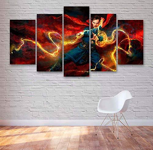 KOPASD Cómics Super Hero Movie Caracteres 5 Panel Lámina del Paisaje del Arte impresión en Lona Cuadros de la Pared de la Foto,para el hogar decoración Moderna impresión