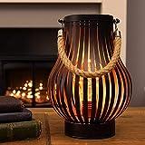 batteriebetriebene Outdoor Metall Windlicht Laterne – Glühbirnen-Design - Timer – LEDs in warmweiß