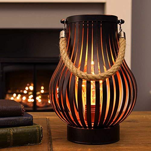 batteriebetriebene Outdoor Metall Windlicht Laterne – Glühbirnen-Design - Timer – LEDs in warmweiß (Bronzefarben)