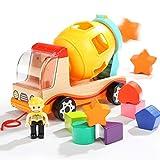 BALOO SPIELE. Holz Betonmischer mit bunten Bausteinen. 2in1 Holzspielzeug - Spielzeugauto und Sorter für ein Kleinkind ab 18 Monaten. Für Jungs und Mädchen! -