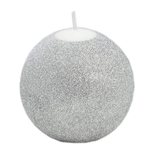 RAK Kerze Deko glizternde Kugelkerze Iris Silber glänzend 100