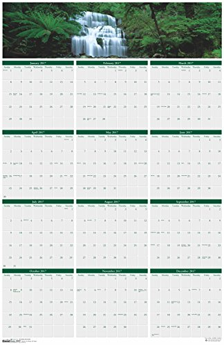 """House of Doolittle 2017 Laminated Wall Calendar, Earthscapes Waterfalls, Reversible, 24 x 37"""" (HOD397-17)"""