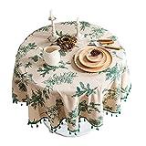 Mantel redondo de lino de algodón rústico de 122 cm con borlas vintage de hojas de pino verde...