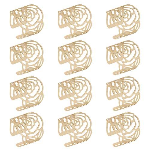 BUYGOO 12Pcs Serviettenringe Gold Metallmaschen Serviettenringe Set, Metal Rose Gemusterte Serviettenhalter Napkin Ring für Hochzeit Geburtstag Weihnachten Taufe Tisch Dekoration