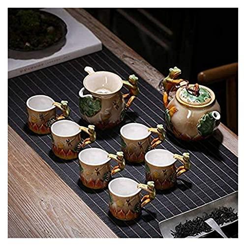 LBBZJM Servicio Conjunto de café Juego de té Juegos de té Cambio de Horno Dolphin Frog Tetera Taza Taza de té Forma Animal Juego de té Anual Juego de té Juego de té Caja de Regalo (Color : Frog)