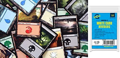 Magic The Gathering 100 MTG Basic Lands Set / Standard Land Karten (20 je Farbe) + Arkero-G 10 weiße Kartentrenner