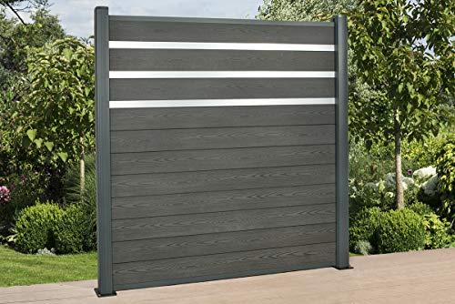DeToWood Hochwertiger WPC Zaun mit Alu- Pfosten (190x9x9 cm zur Bodenmontage) & Zierleisten Maße: 1,8 bis 21,6 Lfm, Modell: Premium, Farbe: Granit/Grau (14.4)