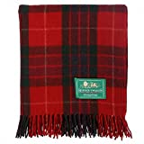 The Scotland Kilt Company Border Tweeds Picnic Travel Rug Throw Wool Tartan Scottish - Fraser Red