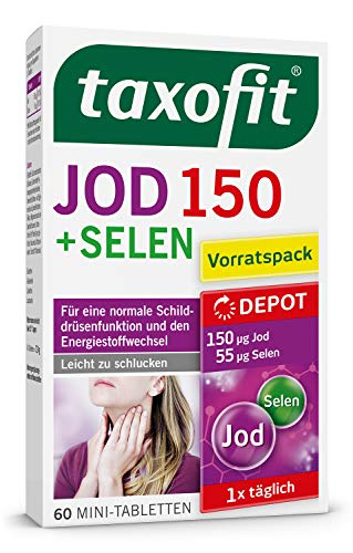 taxofit® Jod Depot 60 Mini-Tabletten für eine normale Schilddrüsenfunktion und den Energiestoffwechsel