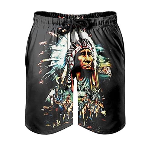kikomia Bañador para hombre, diseño indio americano, plumas, estampado creativo 3D, con bolsillos, color blanco, M